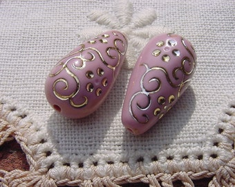 Dusty Rose Intricate Pattern Drop Vintage Lucite Beads