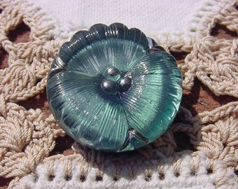 Czech Glass 36 mm Abstract Flower Button Teal with Amethyst
