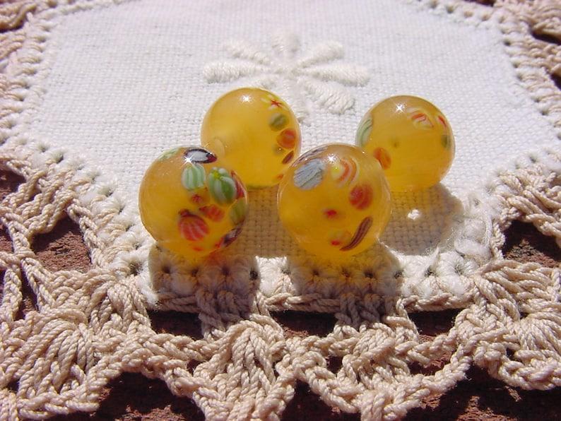 Golden Honey Vintage Japanese Glass Millefiori Beads