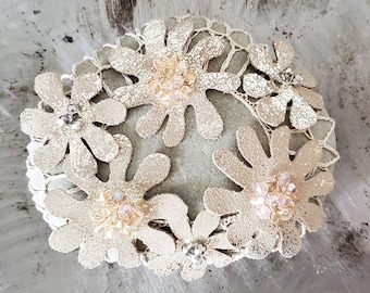 Crocheted Leather Flower Stone, Original, Handmade Gift, Silver, Beige, Home Interior Decor, Swarovski Crystals