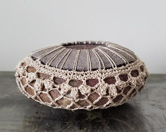 Crocheted Lace Leather Stone, Gray, Beige, Handmade, Original, Home Table Decor