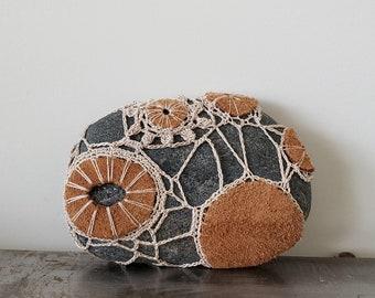 Autumn Desert, Crocheted Lace Leather Stone, Original, Handmade, Home Decor