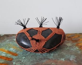Crocheted Lace Stone, Unique Gift, Original, Handmade, Cognac, Black, Fringe
