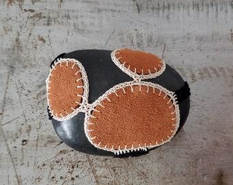 Crocheted Leather Lace Stone, Black, Beige, Cognac, Handmade, Original