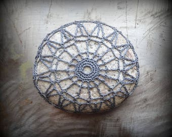 Crocheted Stone, Original Handmade One of a Kind Lace, Table Decorations, Home Decor, Gift Idea, Gray, Upcycled, Collectible Art, Monicaj