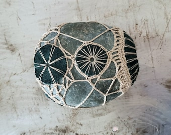 Midnight Green, Crocheted Lace Stone, Leather, Original, Handmade, Home, Office