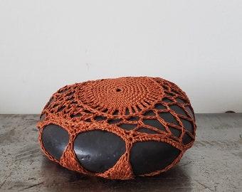 Crocheted Lace Stone, Unique Gift, Original, Handmade, Cognac, Black, Collectible Art
