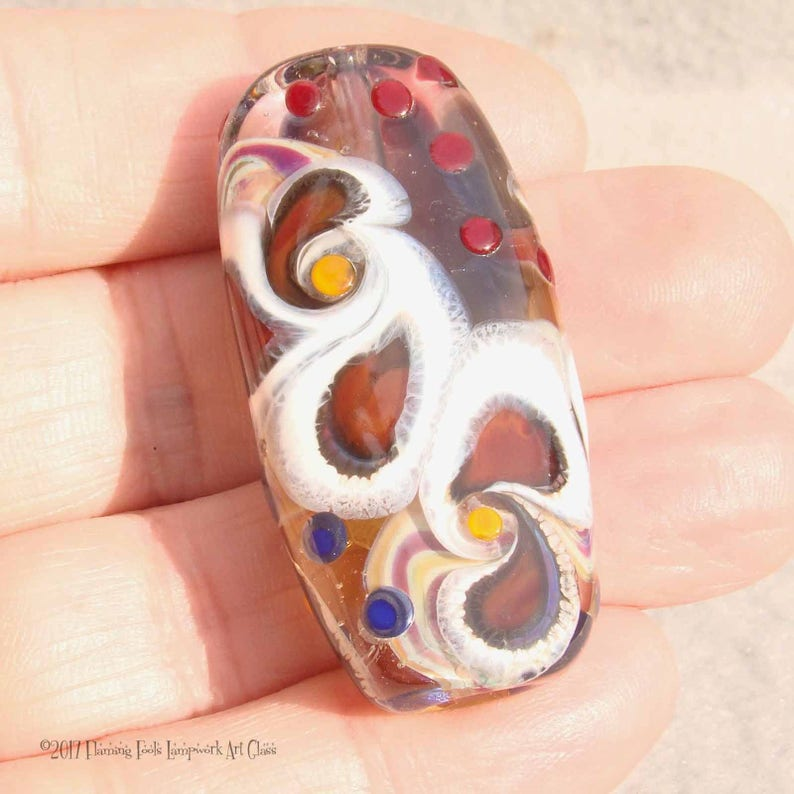 Green cream Organic Style Set of 5 Beads by Helen Gorick ivory bumpy design mixed glass beads