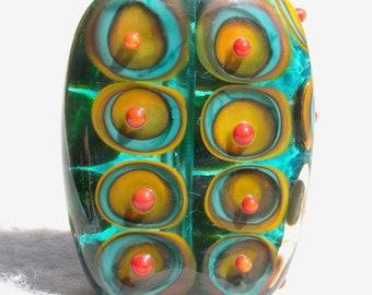 ISLA MORADA Handmade Lampwork Art Glass Focal Bead - Flaming Fools Lampwork Art Glass  sra