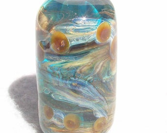 EDDY Handmade Lampwork Art Glass Focal Bead - Flaming Fools Lampwork Art Glass  sra