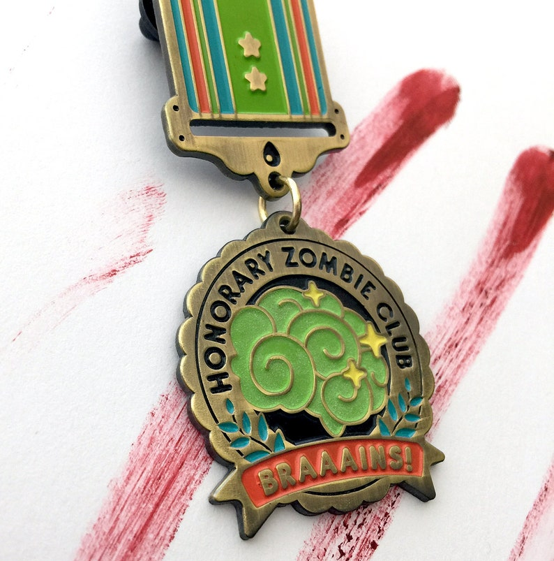 SALE Zombie Club GLOW-in-the-DARK Enamel Medal image 0