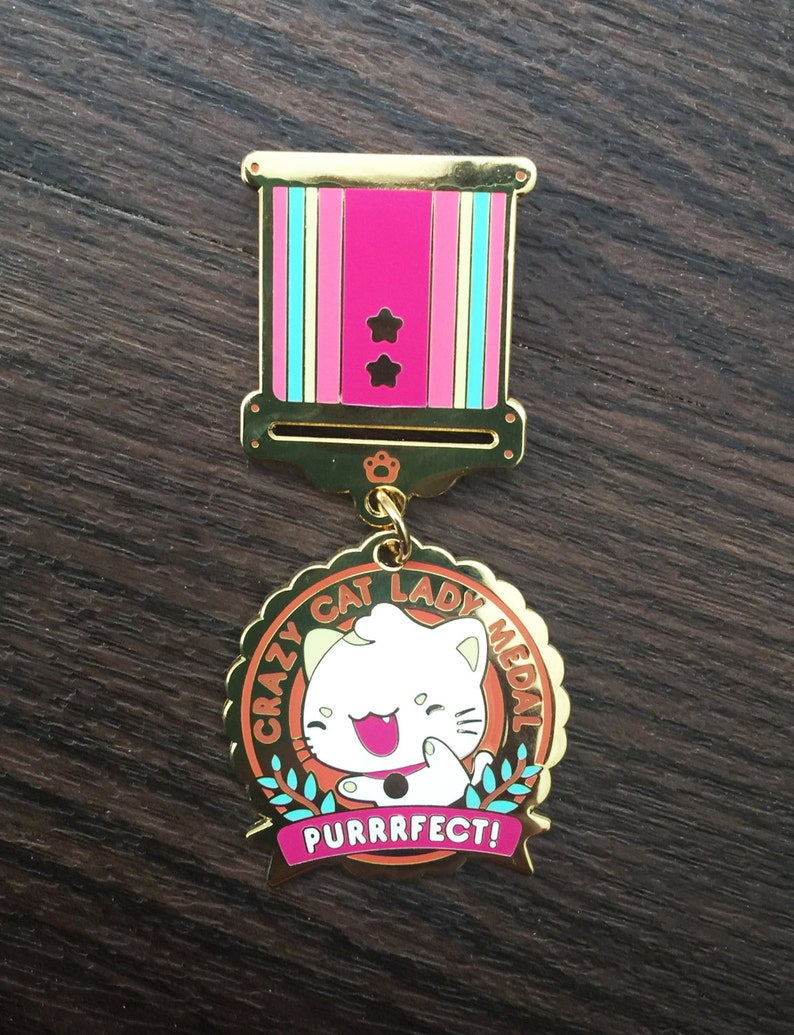 Crazy Cat Lady Enamel Medal image 0