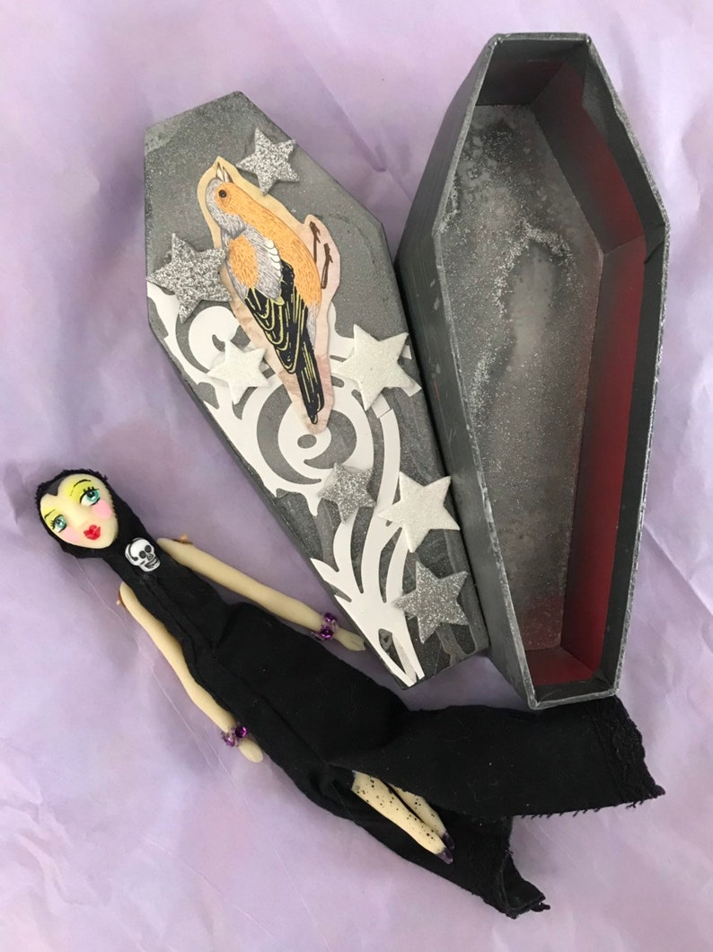 glow in the dark doll coffin witch coffin box Lenore Susperia witch doll hand made art doll goth doll Dame Darcy pagan,minatures