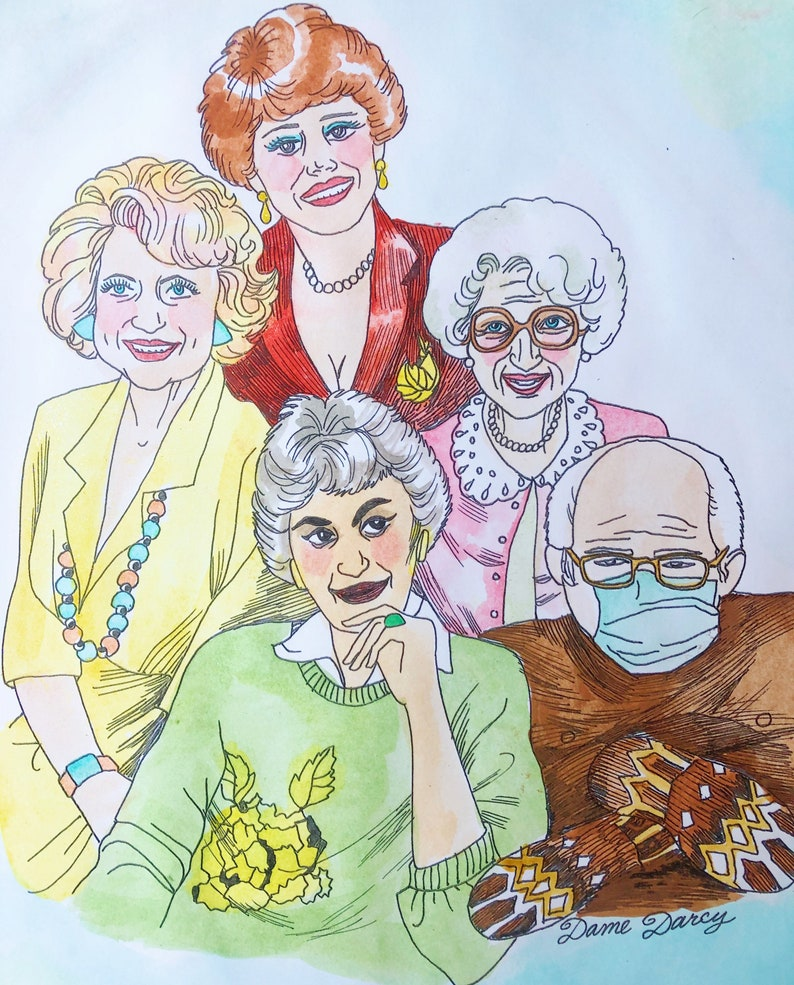 Golden Girls  Watercolor  Pen and Ink  Glicee Print  image 0