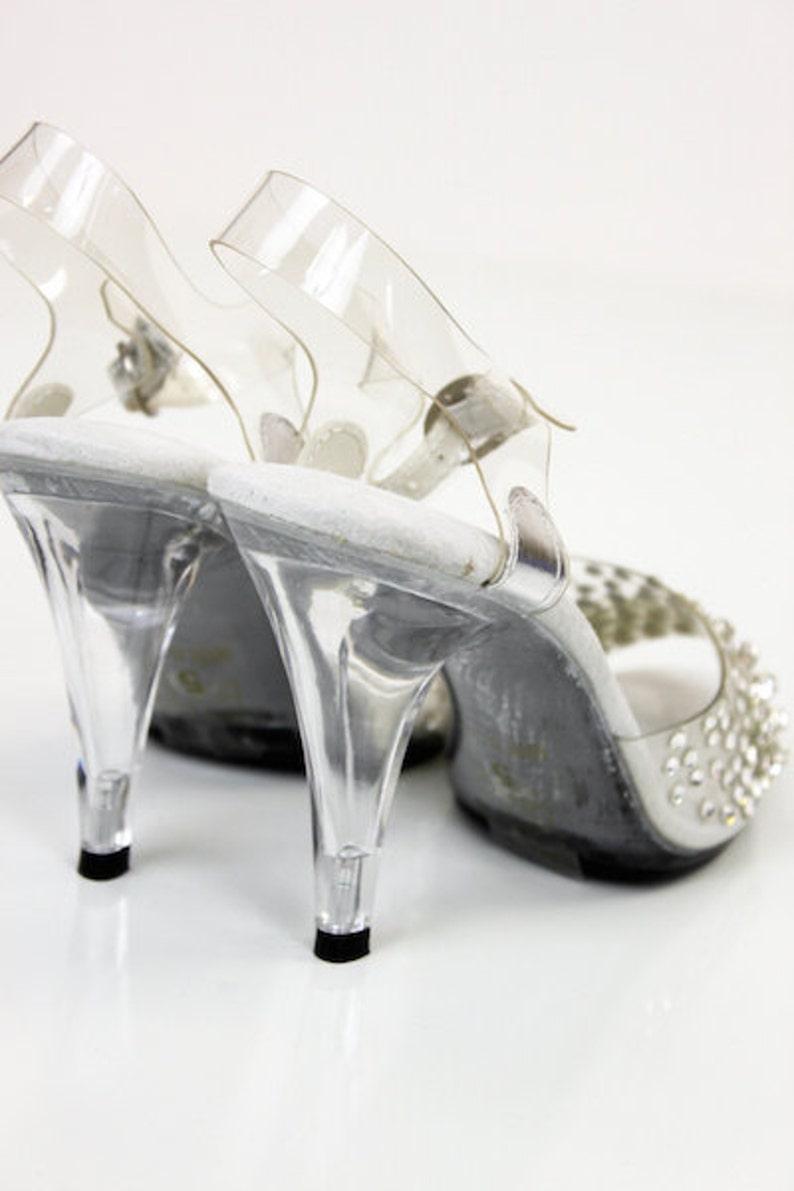 405-Brook Rhinestone Clear Sandal 4 Heel  Bikini Figure Competition Shoes