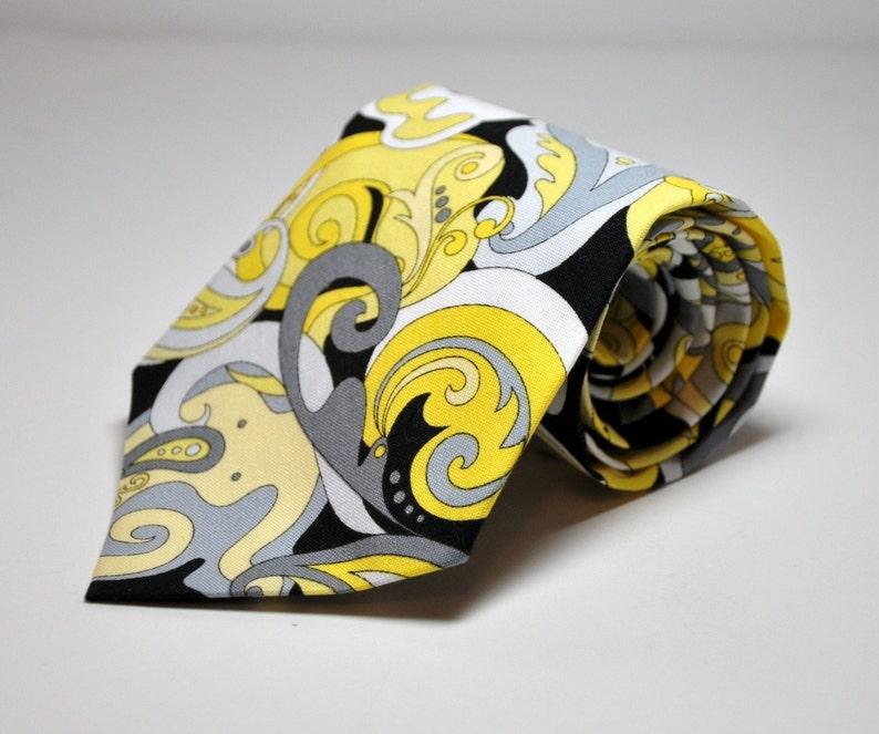 Men's Necktie in Yellow Gray and Black Paisley image 0