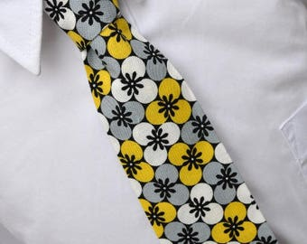 Yellow and Gray Tile Floral Boy's Necktie