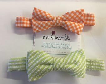 Little Boy's Bow Tie Set Orange Gingham and Light Green Seersucker Ready to Ship