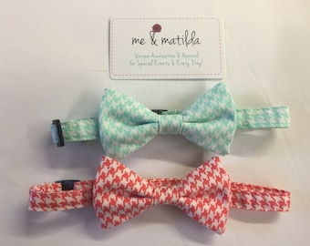 Little Boy's Bow Tie Set Coral and Mint Houndstooth Ready to Ship