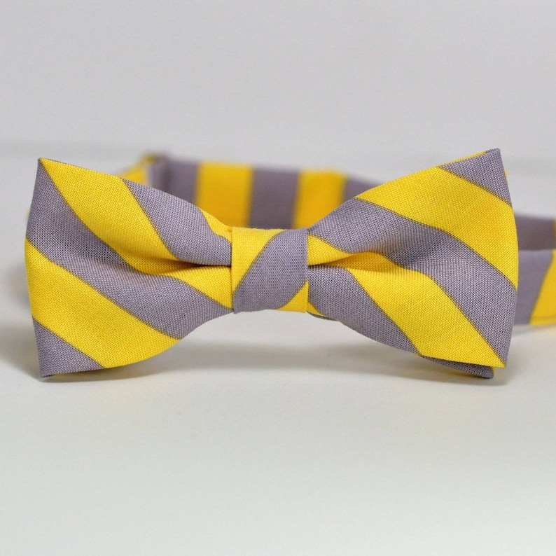 Yellow and Gray Stripe Bow Tie Boy's Bowtie Gray and image 0
