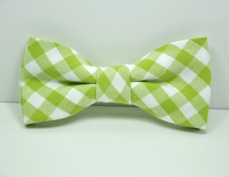 Lime Green Gingham Boy's Bow Tie image 0