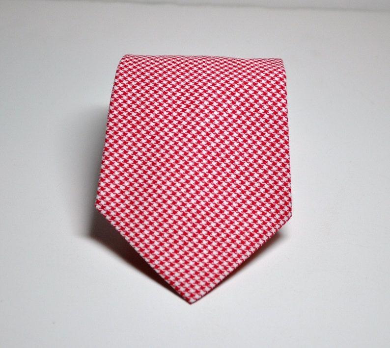 Red Houndstooth Necktie for Men or Boys image 0