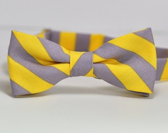 Yellow and Gray Striped Bow Tie Men's Bowtie Men's Tie Grey and Yellow Wedding