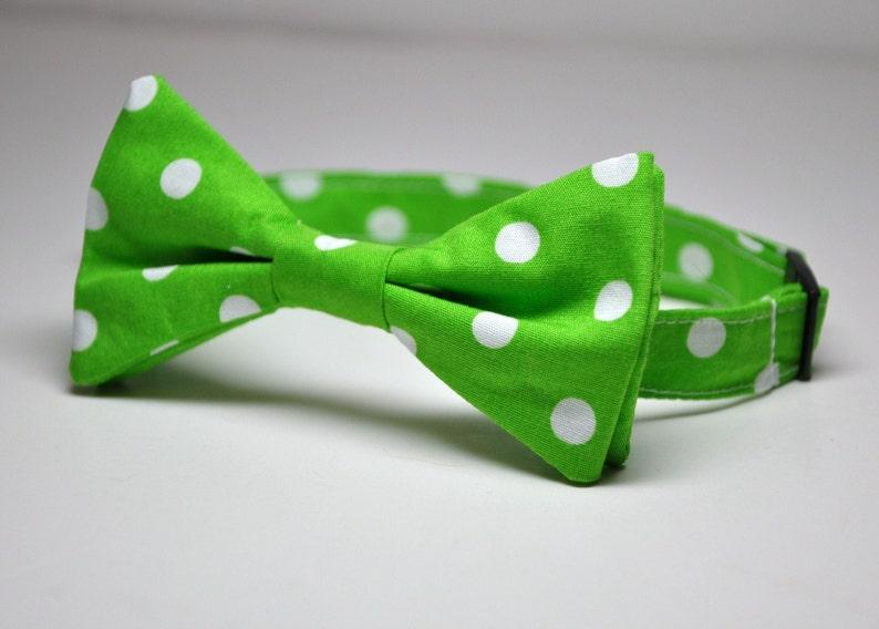 cb4488bfa09d Boy's Bow Tie Lime Green Polka Dot Children's Bowtie   Etsy