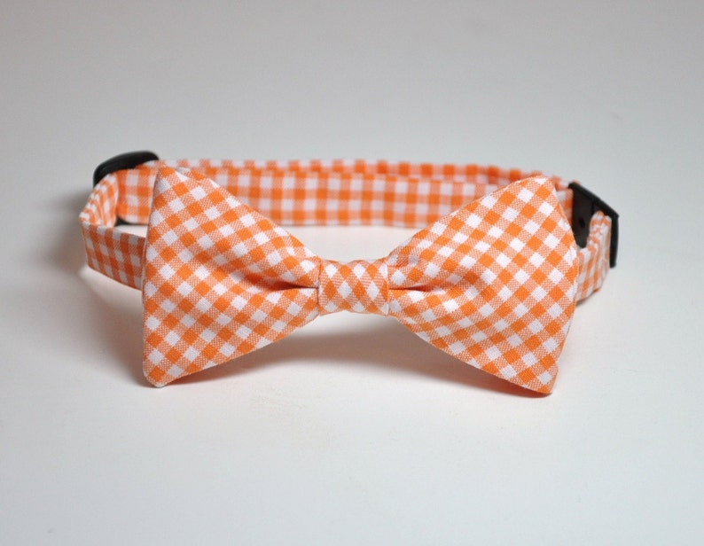 Bowtie Orange Gingham Boys Bow Tie Ring Bearer Outfit Rustic image 0