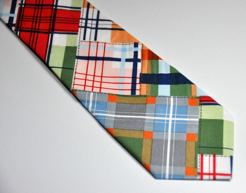 Boys Necktie Patchwork Plaid  READY TO SHIP image 0