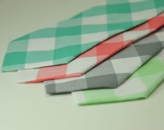 Gingham Necktie, Large Check Tie, Coral Necktie, Mint Necktie, Boy, Toddler, Baby, Men