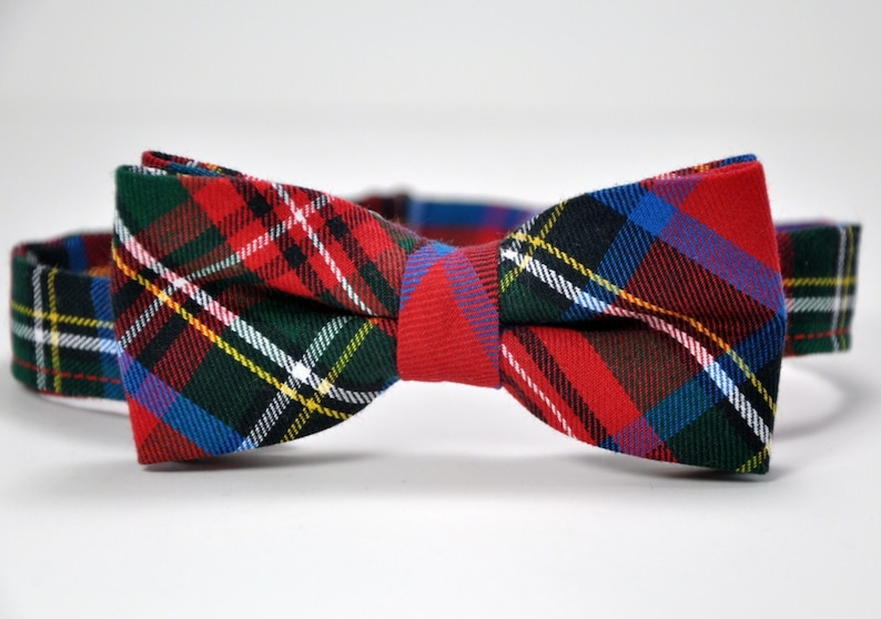 740839b0aaf6 Bow Tie Stewart Plaid Bowtie Christmas Bow Tie Red and | Etsy