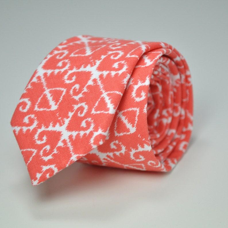 207dfdf53f7f Coral Ikat Men's Skinny Necktie | Etsy