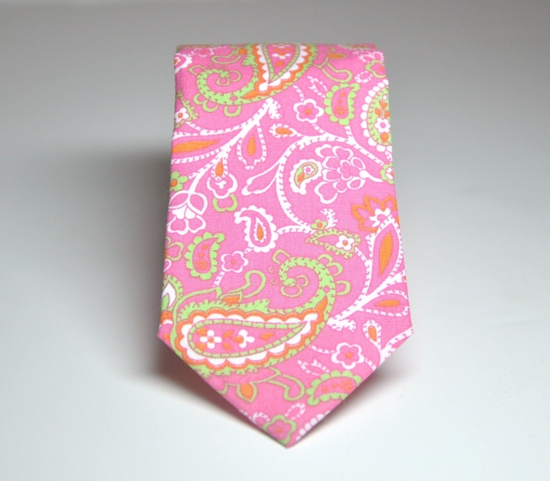 Men's Necktie Pink and Green Paisley Child's Tie image 0