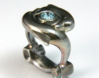 Dolphin Ring in Silver with Blue Zircon jc3