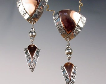 KYRAH - Geometric Tribal Shield And Arrow Earrings In Sterling Silver and Copper