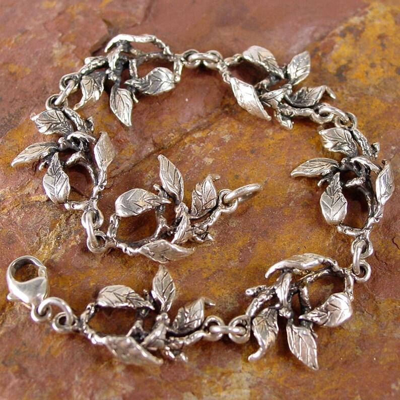 FOLIAGE Bracelet Cast Sterling 925 Silver Leafy Branch Link