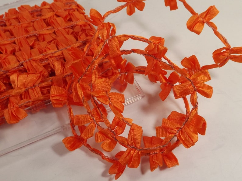 French Ribbon Wired Acetate Pon 3168 Kites Orange Color 47 Made in France Weddings Crafts Decorations Costumes 3 yards x 1 inch wide