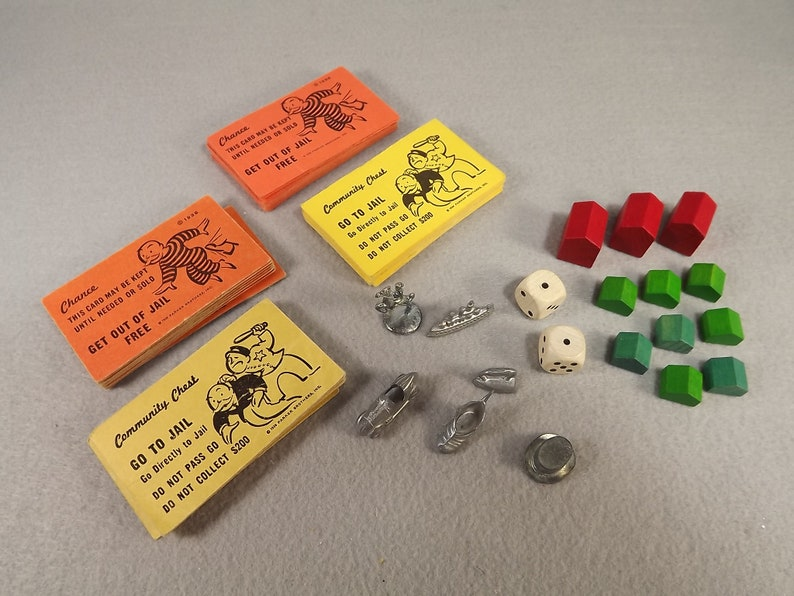 Monopoly Game Metal Pieces 2 Sets Cards Plus Wooden Houses And Hotels Wooden Dice