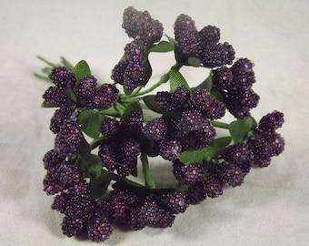 Beaded Berries Purple Stamens Weddings Corsages Dolls Fascinators Flower Crowns Glass Beads 9 Stems