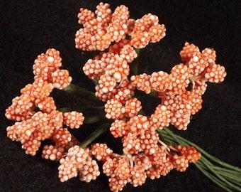 Beaded Berries Orange Stamens Weddings Corsages Dolls Fascinators Flower Crowns 12 Stems Composition beads