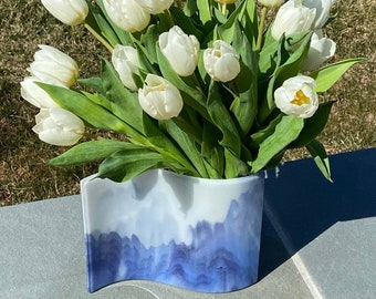 Vase Fused Glass Mountain Mist Look Special Production Glass 9 X 7 Inch Panel with 6 X 3 Inch Clear Glass Vase Wedding Gift Mothers Day Gift