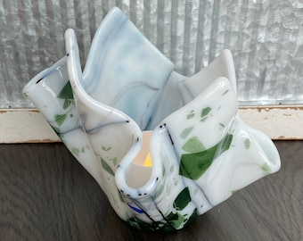 """Candle Holder Votive Holder Fused Glass Large Will Hold 2"""" Pillar or Votive Includes Battery Operated Votive Candy Dish Teacher Wedding Gift"""