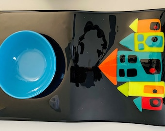 Serving Platter Fused Glass 9X15 Inches Wonky Houses Black Base with Colorful Houses  Perfect Housewarming Gift