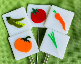 Garden Markers Fused Glass Yard Art Vegetable Garden Markers Tomatoes Carrots Peas Onions Pumpkins All Peppers in Another Listing