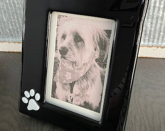 Picture Frame Fused Glass Frame 7.5 X 9 Inch Fits 4 X 6 Inch Photo Attached Wooden Frame Raised White Paw Print Doggie Best Friend