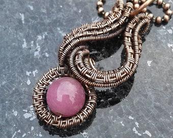 Quartz necklace, Copper necklace, copper jewelry