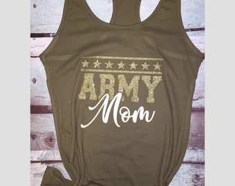 Womens Tank Top Proud Army Dad in Military Green Yoga Shirt for Women