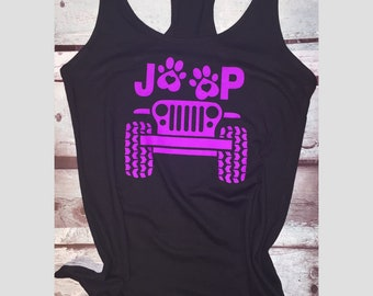 Womans racerback jeep tank top with paw prints, fitness tank top, gym tank top