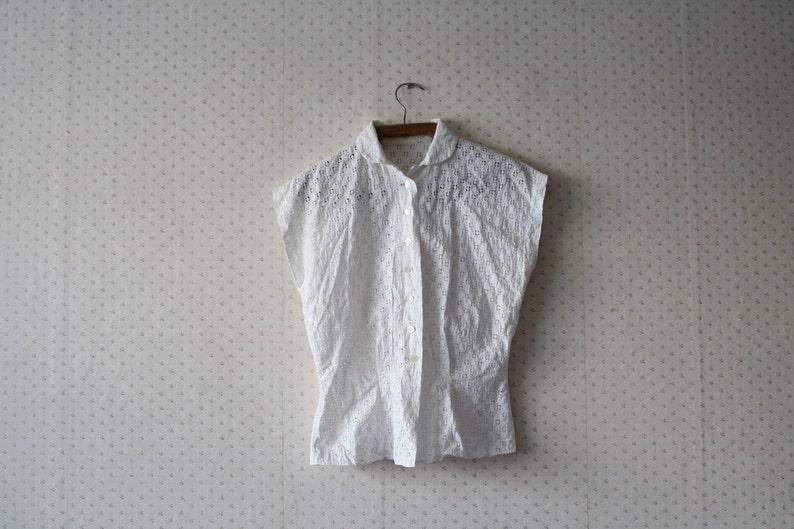 vintage 1960/'s romantic white lace blouse